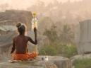 Guru on the hill, Hampi, travel art