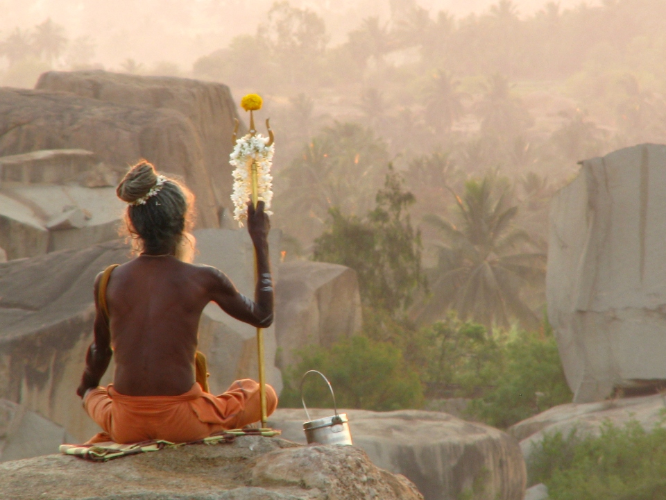 Guru on the hill, Hampi, travel art